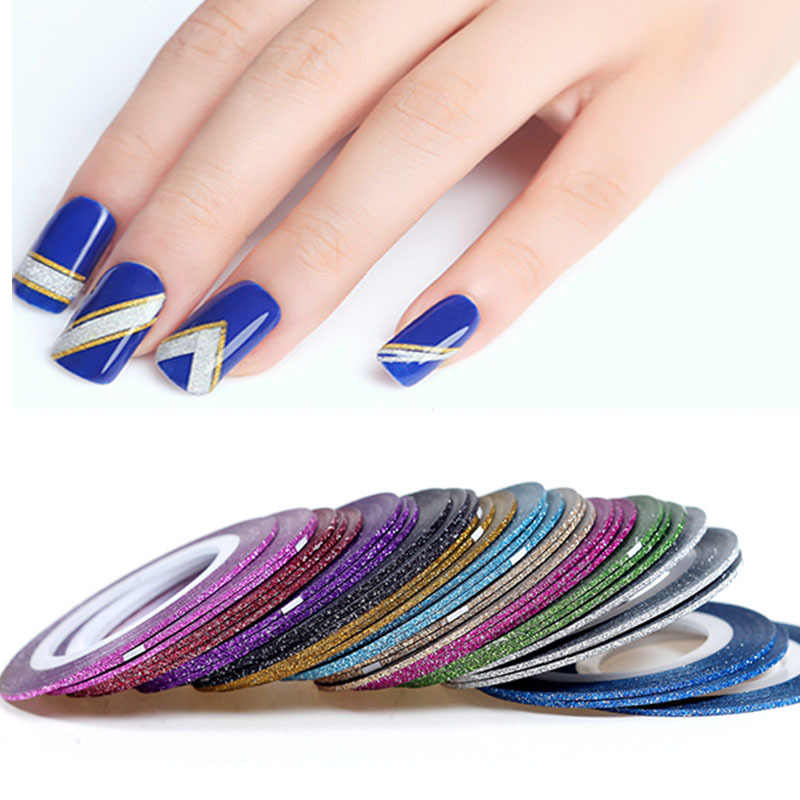 1mm 12 kleur Glitter Nail Stripin Lijn Tape Nail Sticker Volledige Cover Sticker Wraps Decoraties DIY Manicure Nagels Decals manicure