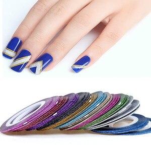 1 мм 12 цветов, Блестящая лента для полоскания ногтей, наклейка для ногтей, полное покрытие, наклейки, украшения, сделай сам, маникюрные наклей...