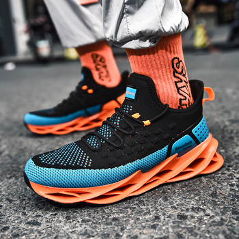 Running Shoes Men Spring Autumn Male Shoes Fashion Style Breathable Flying Woven Casual Blade Shoes Trendy Men's Jogging Shoes