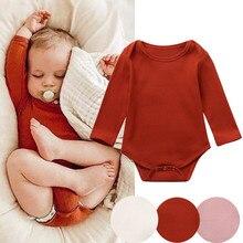 Newborn Infant Baby Clothes Girls Boys Long Sleeve Solid Romper Soft Bodysuit M0925 solid long sleeve tee bodysuit