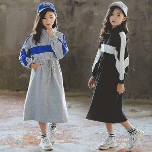 Платье для маленьких девочек, Новинка осени 2020, детское Хлопковое платье, двухцветное лоскутное платье-свитшот с длинным рукавом для малыше...