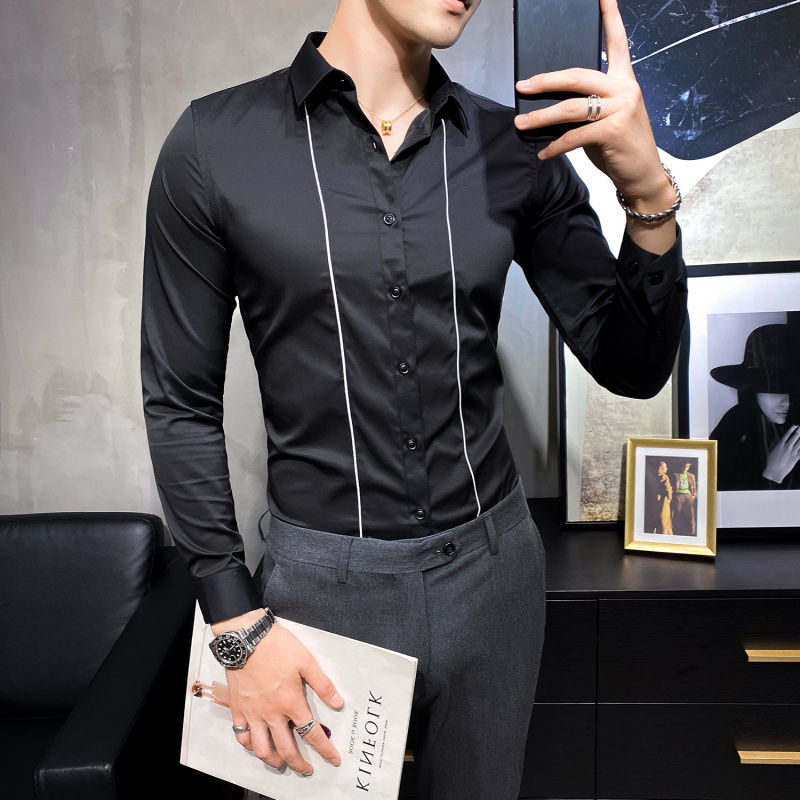 2021 Autumn new Arrivals personalized line embroidery men's slim long sleeve white black shirt Free shipping mens clothes
