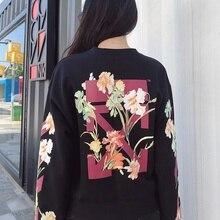 New Sweatshirt Women Flower Arrow Guard In Autumn 2019 Floral O-Neck Black