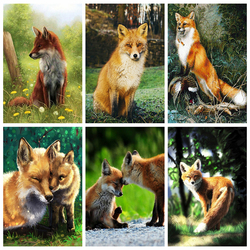 HUACAN Diamond Painting 5d Fox Full Square Decortion New Diamond Embroidery Mosaic Animal Decor For Home