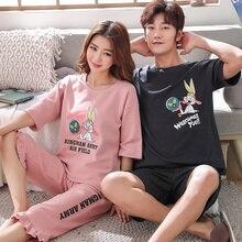 Piżamy na lato 100% bawełna Cartoon para piżamy wokół szyi kobiety Pijamas Casual Loose Plus rozmiar M 4XL męska piżama