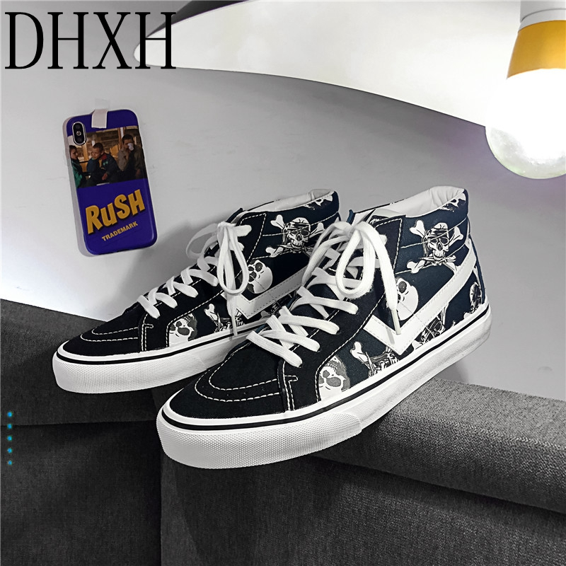 DHXH Luminous Alien Skull High-top Men And Women Shoes Canvas Casual Sneakers