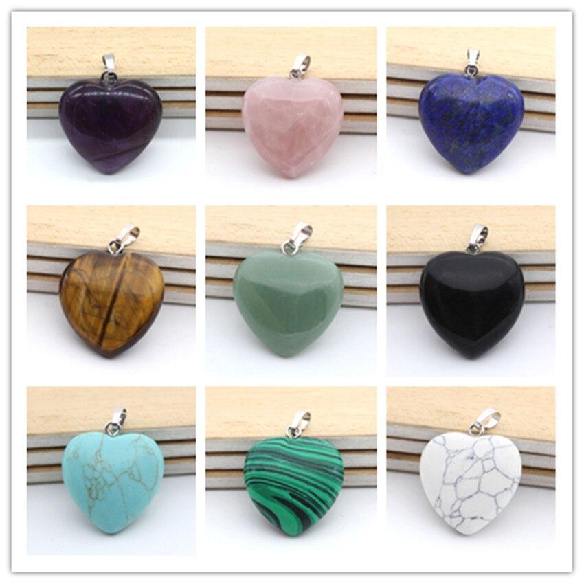 100-Unique 1 Pcs Silver Plated Romantic Style Love Heart Amethysts Stone Pendant Green Aventurine Jewelry