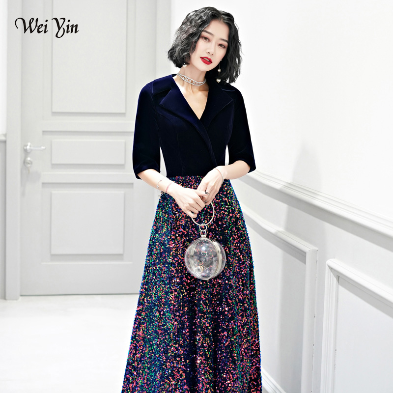 wei yin AE0225 Robe De Soiree 2019 Sexy Velour   Evening     Dresses   Deep V Neck Design Elegant Sequined Long   Evening   Gowns