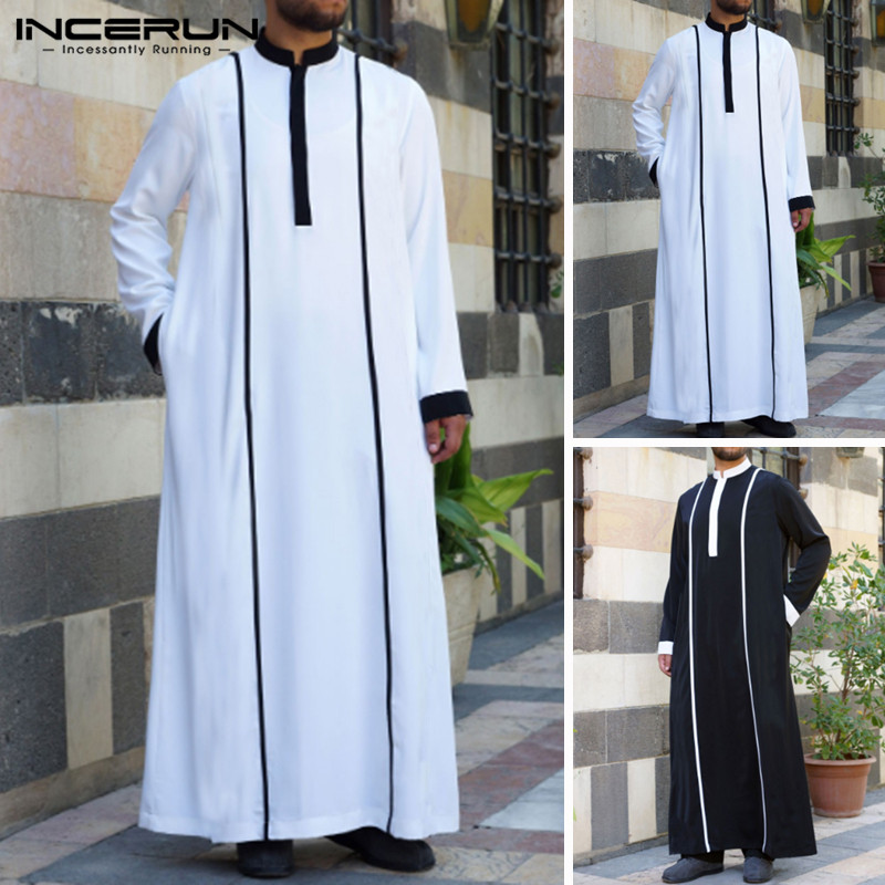 INCERUN Muslim Arabic Islamic Kaftan Men Patchwork Long Sleeve Vintage Robes Abaya Saudi Arabia Middle East Men Jubba Thobe 2019