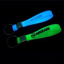 Стайлинга автомобилей Авто эмблемы светящийся брелок для ключей чехол для Nissan Nismo X-trail Almera Qashqai Tiida Teana Skyline Juke аксессуары