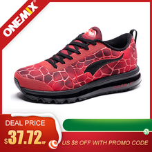 Купить с кэшбэком ONEMIX Men's Running Shoes Breathable Mesh Outdoor Red Athletic Sport Shoes Comfort Black Shoes Walking Sneakers Plus Size 39-47
