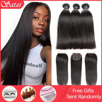 Satai Straight Hair Bundles With Closure Remy Human Hair 3 Bundles With Closure Brazilian Hair Weave Bundles 30 inch Bundles - DISCOUNT ITEM  45 OFF Hair Extensions & Wigs