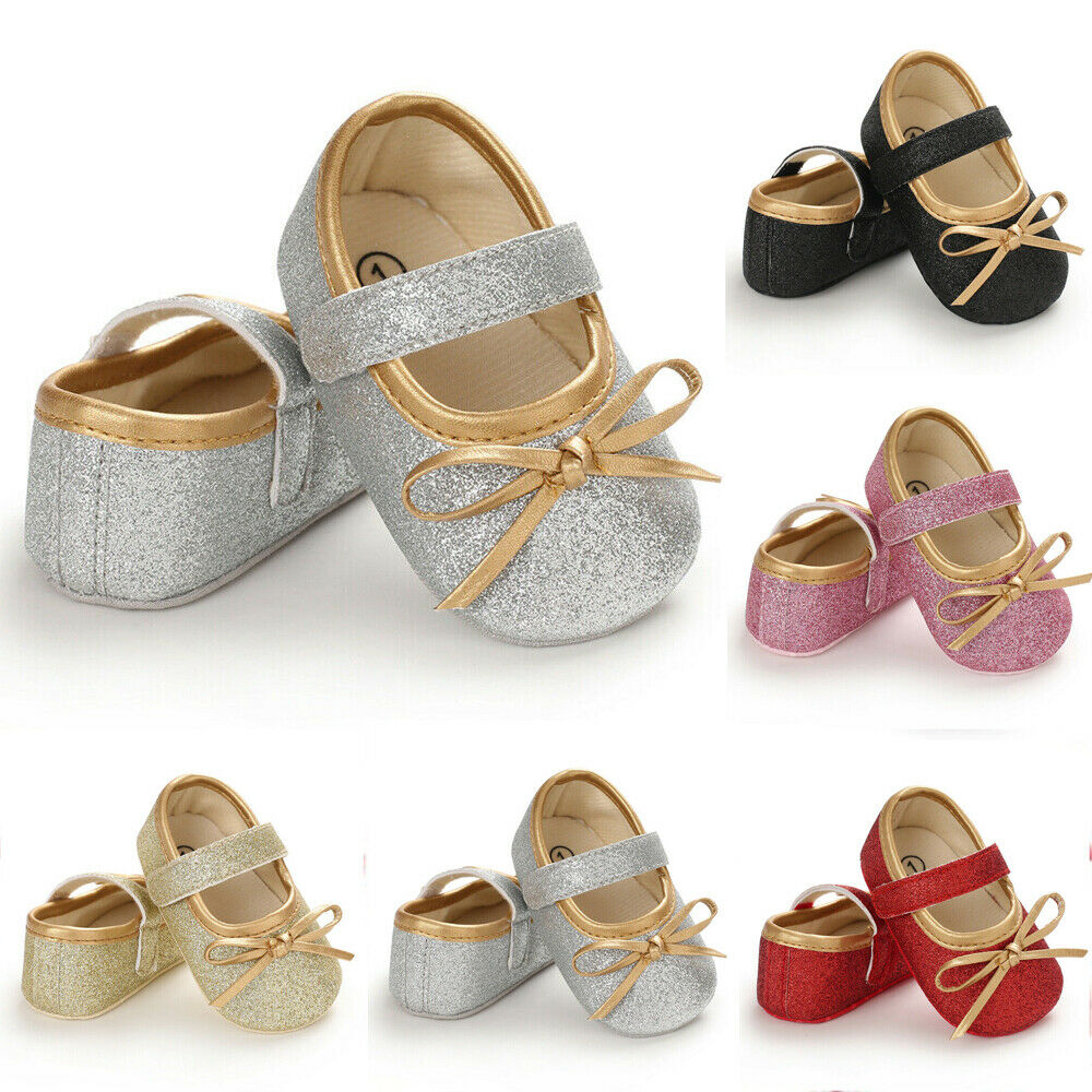 Princess Bow Newborn Baby Girls Shoes Cute Sequin Prewalker Sneakers Toddler Infant Moccasins Soft Sole Shoes First Walkers