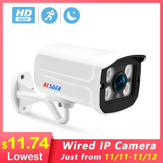 Besder広角 2.8 ミリメートル屋外ipカメラpoe 1080 1080p 960 1080p 720p金属ケースonvifセキュリティ防水ipカメラcctv 4 本アレイled