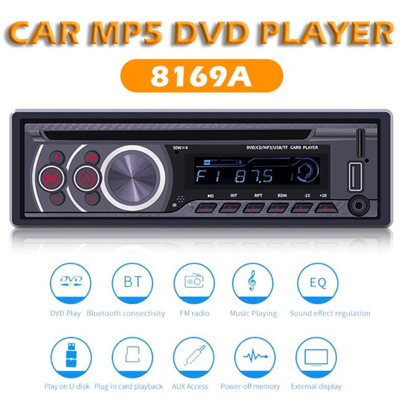 SWM 8169A Bluetooth Car Mp3 Player Stereo CD VCD DVD Video Audio Player Auto AUX USB FM Radio Receiver In Dash Head Unit image