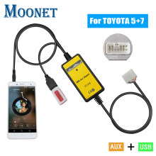 Moonet carro mp3 aux interface usb cd changer 3.5mm adaptador auxiliar para toyota (5 + 7pin) yaris camry corolla avensis rav4 qx018