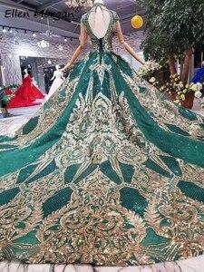 Image 5 - Vestido de noche árabe verde oscuro para mujer, colores brillantes, cuello alto, flecos, evento Formal, fiesta de graduación, 2020