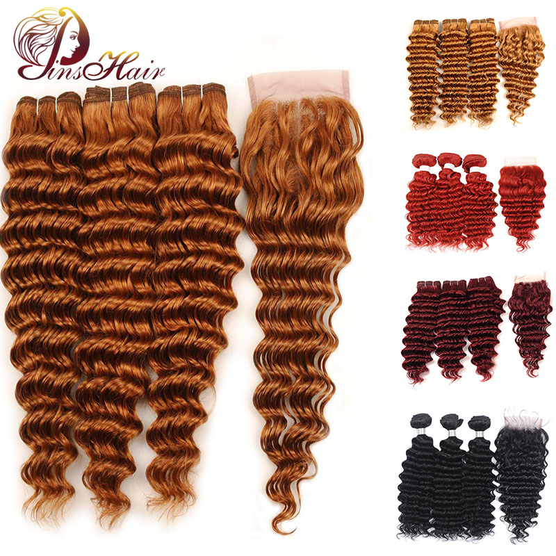 Red Burgundy Human Hair Bundles With Closure Brazilian Black Hair Deep Wave Bundles With Closure Pinshair Non-remy Pre-Plucked