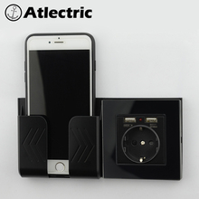 Atlectric Glass panel Wall Power Socket Grounded 16A EU Standard Electrical Outlet With 2100mA Dual USB Charger Port for Mobile joho aluminum black silver panel eu standard pop up desktop table socket electrical outlet with customized port pc 158