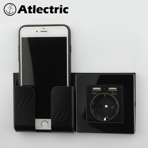 Atlectric Glass panel Wall Power Socket Grounded 16A EU Standard Electrical Outlet With 2100mA Dual USB Charger Port for Mobile