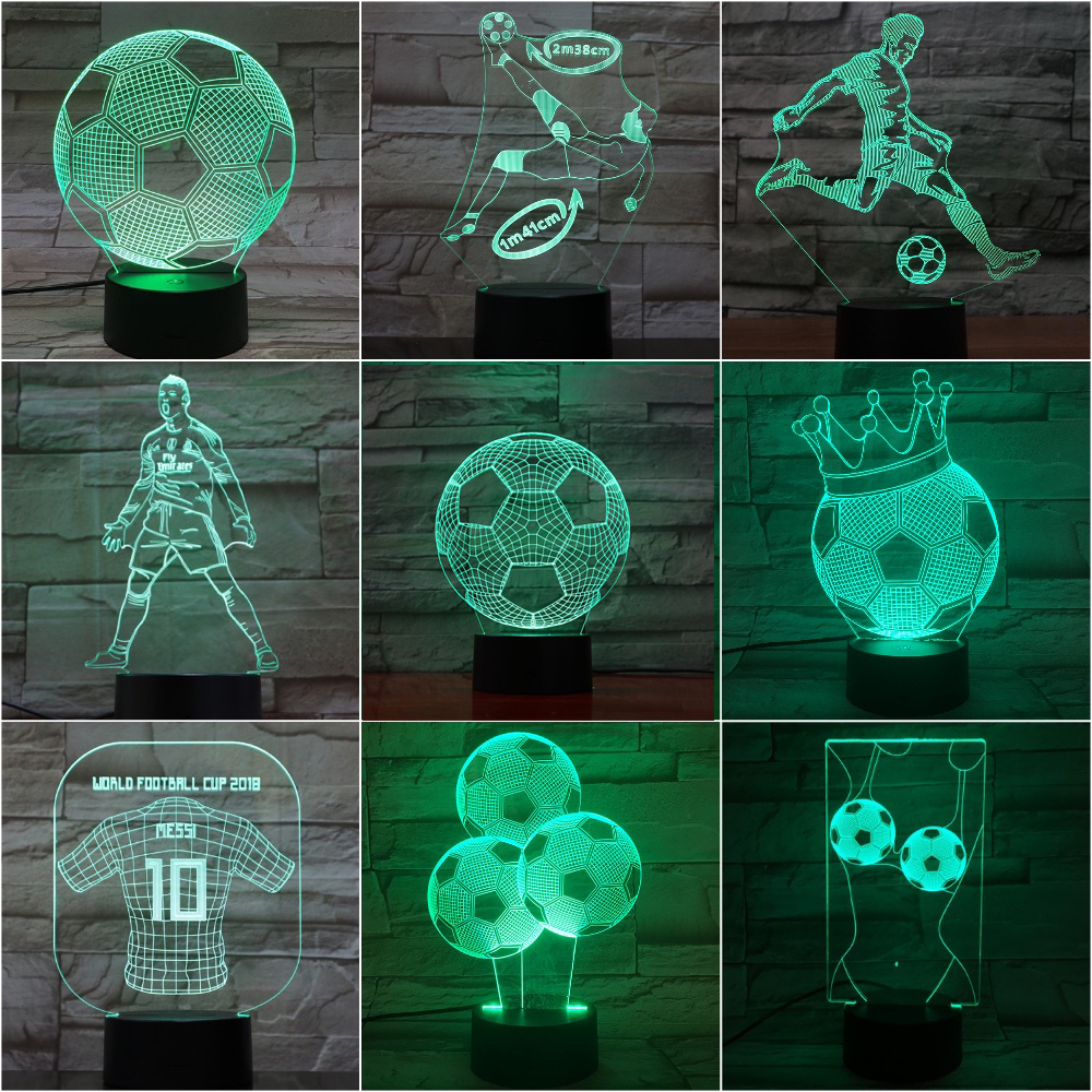 Novelty Lights 3d Football Lamp C Ronaldo Nightlight Child Home Decor Dropshipping Bedside Messi Kids LED Night Light Soccer