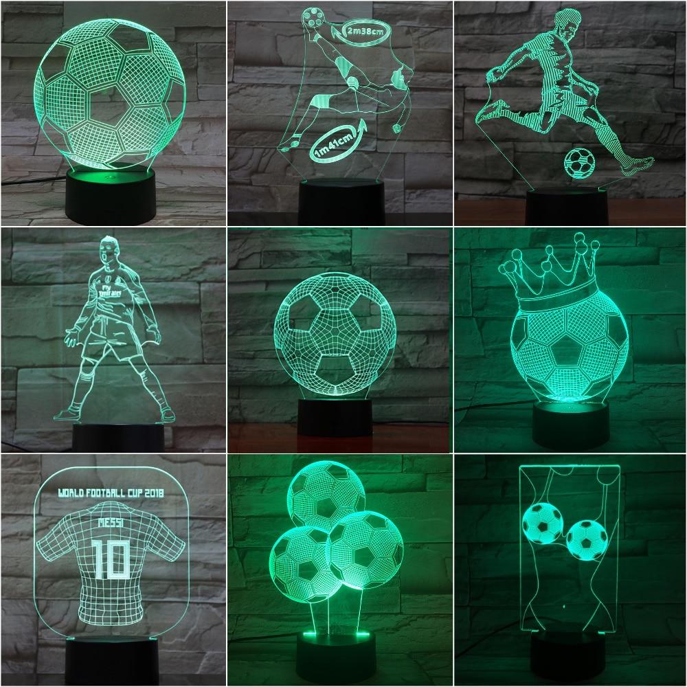 Novelty Lights 3d Football Lamp C Ronaldo Nightlight Child Home Decor Dropshipping Bedside Messi Kids LED Night Light Soccer