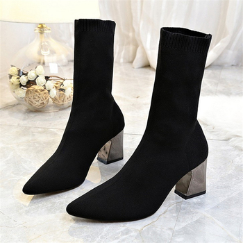newest winter boots for women print flowers ankle boots pointed toe high heels boots 12 cm sexy stretch boots short dress shoes Winter Ankle Boots Women Sexy High Heels Stretch Sock Boots Women's Autumn Fashion Knitted Shoes Ladies Black Chelsea Booties