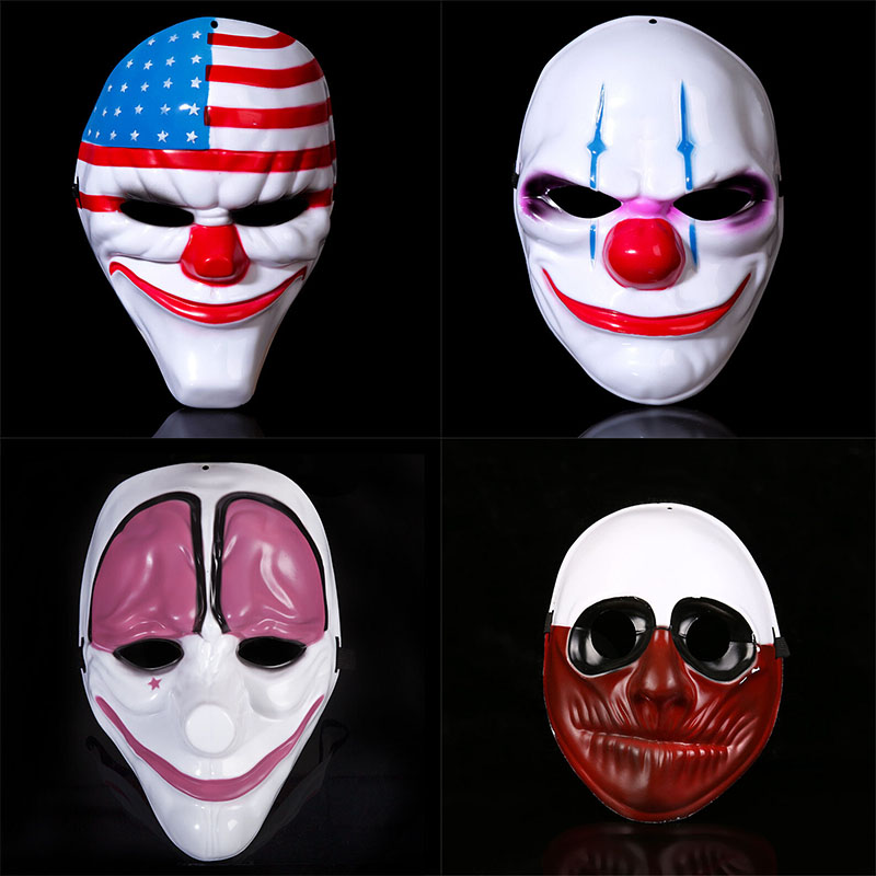 Halloween US Flag Clown Masks Masquerade Party Scary Clowns Carnival Mask Payday 2 Horrible Funny Pay Day Mask Prop Supplies