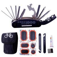 Kits de ferramentas de reparo de bicicleta 16 em 1 multifunções bicicleta mecânico corrigir ferramentas conjunto saco com alavancas de remendo do pneu preto Ferramentas p/ reparo de bicicletas     -