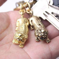 Retro Creatieve Geheel Handgemaakte Stukken Fijne Koper Messing Lucky Bixie Sleutelhanger Mannen En Vrouwen Auto Opknoping Ornament Hanger