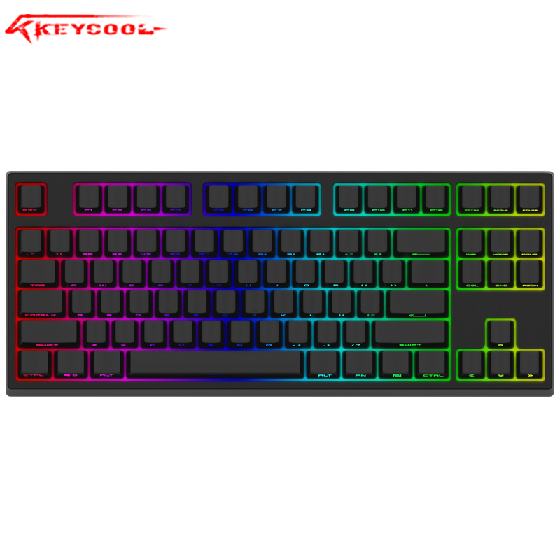 Keycool 87RGB Mechanical Keyboard PBT Side Luminescent Key Hat  Gateron Switch Desktop Game Keyboard