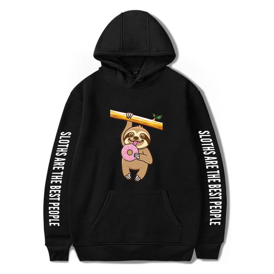 Printed Cute Sloth Hoodies Men Women Sweatshirts Hooded Harajuku Hip Hop Hoodie Fashion Sloth boys girls Autumn black pullovers