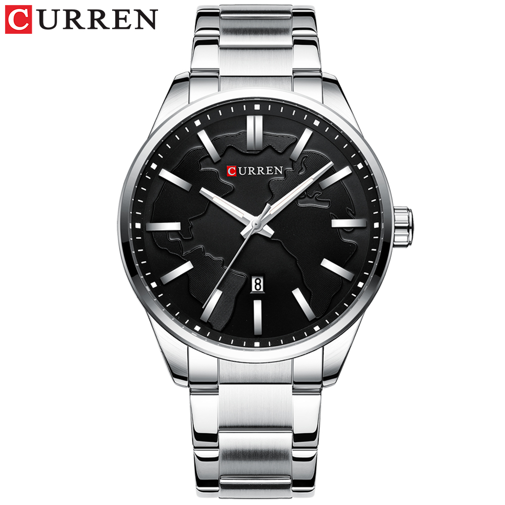 CURREN Creative Design Dial Quartz Watch Stainless Steel Clock Male Business Men's Watch With Date Fashion Gift Reloj Hombres