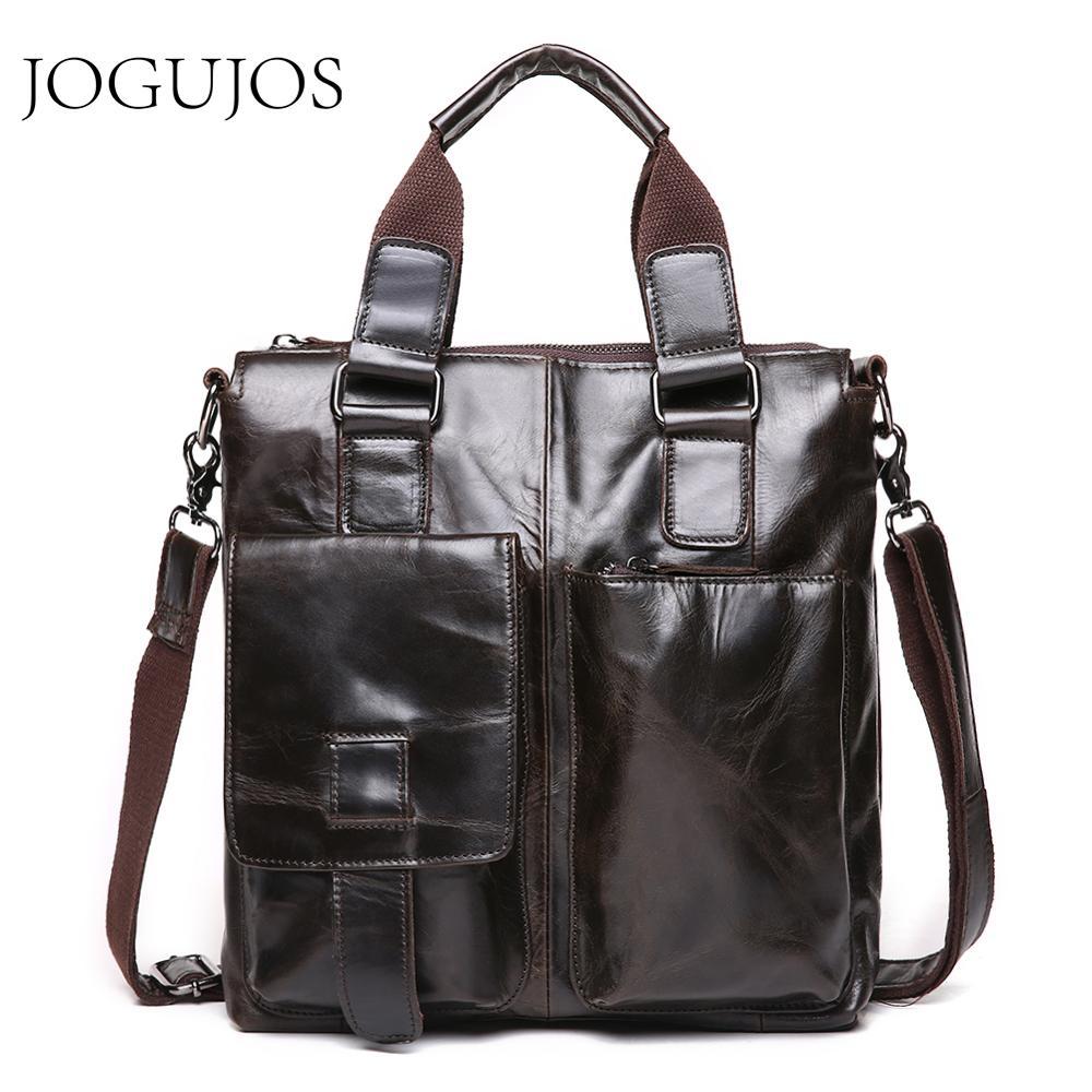 JOGUJOS New Men's Briefcases Genuine Leather Fashion Briefcase Male Vegetable Tanned Skin Shoulder Messenger Bag Travel Bag