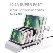 Çoklu bağlantı noktası hızlı şarj USB telefon şarj cihazı 4/6 portları istasyonu yerleştirme standı tutucu için tüm telefon/masa/akıllı saat/güç bankası