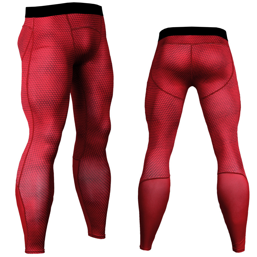 Quick Drying Pants Men's Tight-Fit Training 3D Printed Trousers Sports Fitness Running Wicking Quick-Drying Trousers