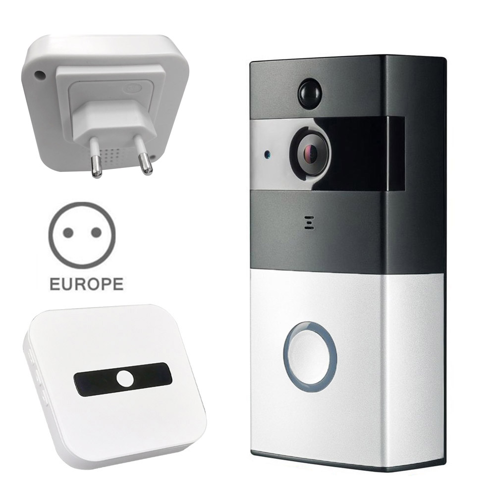 New Wire-free WiFi Video Doorbell With 8G TF Card 720P HD PIR Motion Detection Alerts Night Vision HD Camera UK Plug AS9