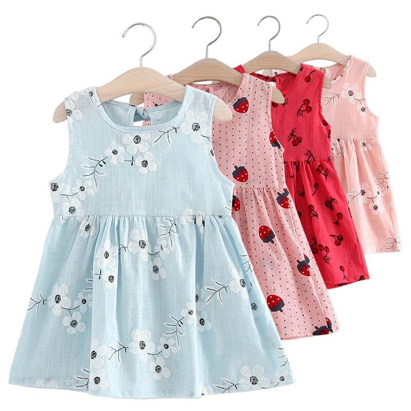 Baby Girl Dress Summer Child Girls Clothing Cotton Sleeveless Flower Kids Dresses for girls dresses Children Clothing 2-7T