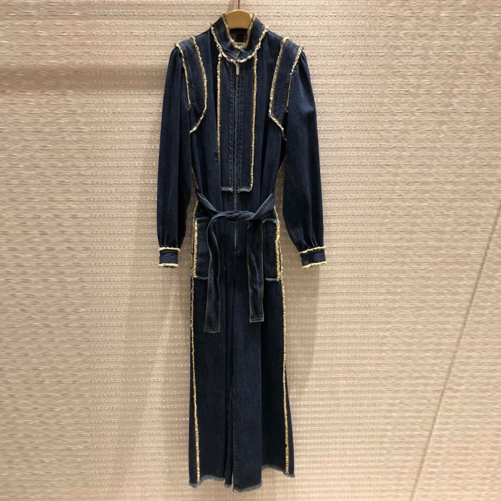 Wide Leg Denim Jumpsuit Women Fashon Spring Solid Elegant Full Length Office Runawy Playsuits Long Pants Overalls Lady Clothing - 4