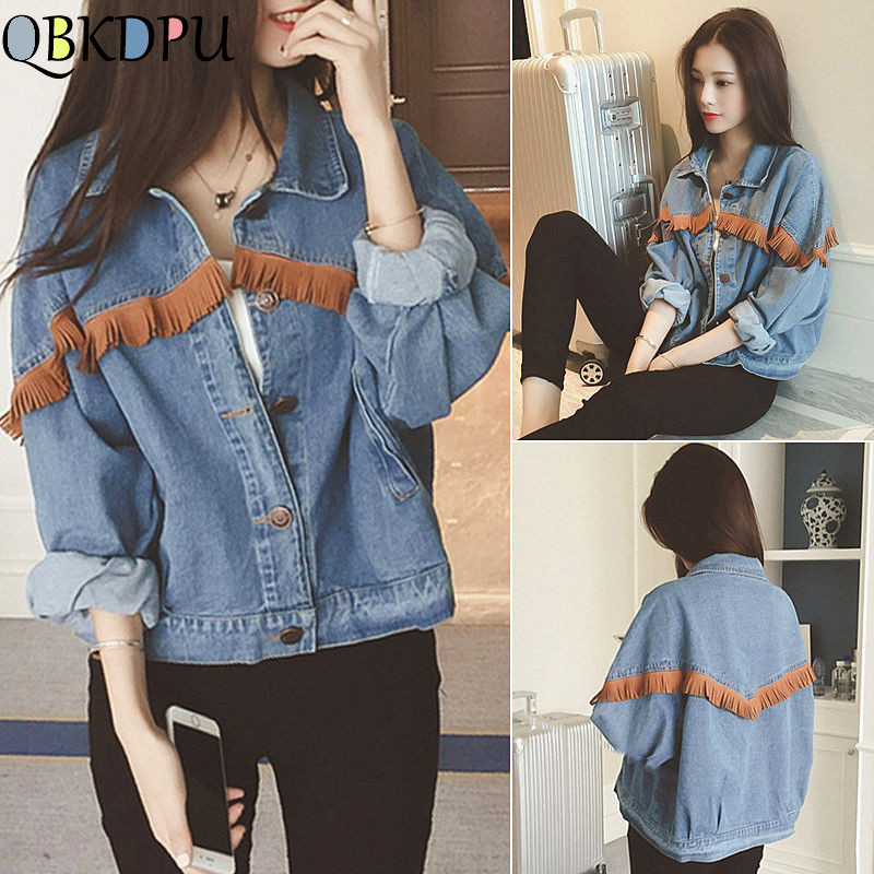 Vintage Stylish Fringe Loose Denim Jacket Women Casual Long Sleeve Tassel Jean Coat Ladies Outerwear Chaqueta Mujer Streetwear