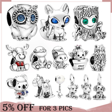 Cute Animal 925 Sterling silver Dog Owl Fox Turtle Dangle Charms Beads fit Original Pandora Bracelets Women DIY Jewelry