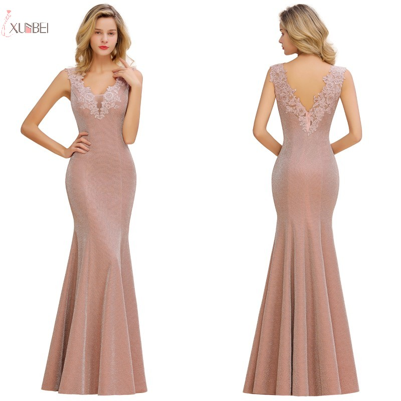 Pink Long Bridesmaid Dresses 2019 Elegant Wedding Party Dress Guest Gown Sexy V Neck Sleeveless Robe Demoiselle D'honneur