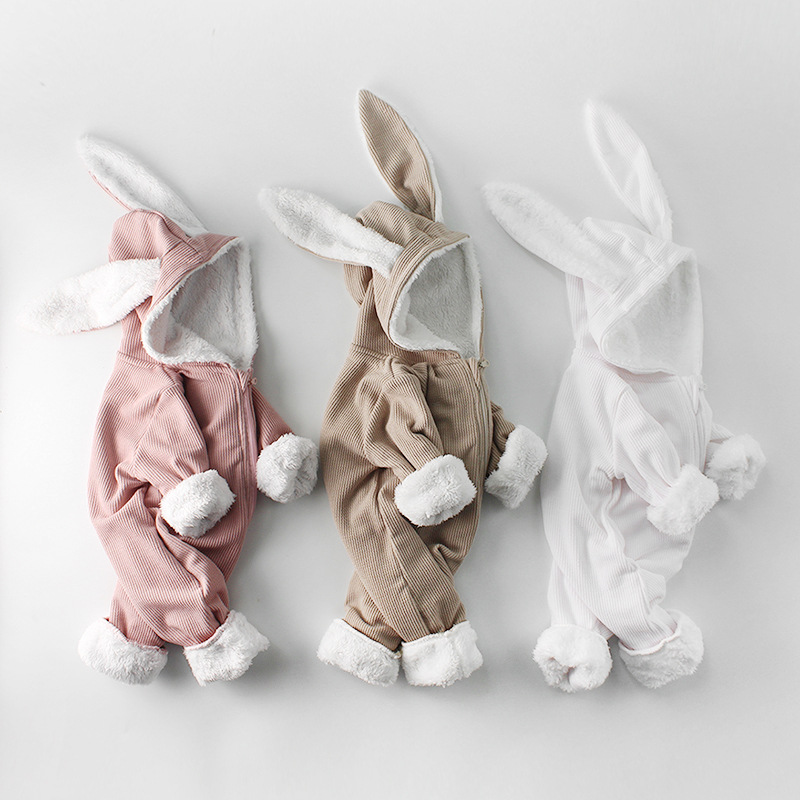 Winter Baby Girl Romper Long-sleeved Clothes For Baby And Rabbit Ears Newborn Baby Boy Clothes