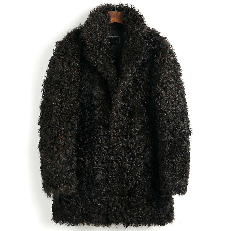 Real Fur Coat Men Winter Sheep Shearling Jacket For Men 100% Natural Wool Fur Coats Warm Furry Luxury Jacket 2020 5016 KJ3644