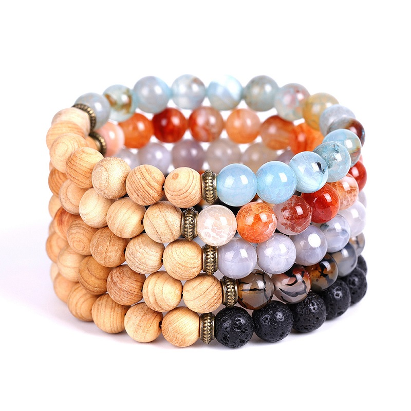 Natural Stone Lava Agates 8mm Wooden Beads Tassel Strand Bracelet Men or Women Bracelets Jewelry Wholesale TR559