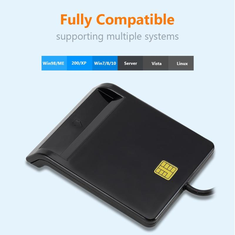 USB Smart Card Reader DNIE ATM CAC IC ID SIM Card Reader For Windows Linux Support Touch Chip Card Operation