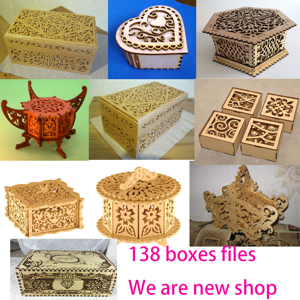 135 boxes design files vector dxf cdr format for CNC laser cutting resource collection for sale
