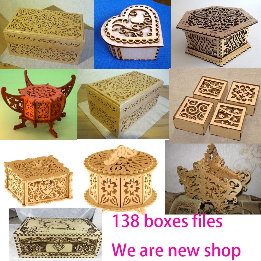 135 cajas de diseño de archivos vector dxf CNC Formato de corte por láser CNC colección de recursos para la venta