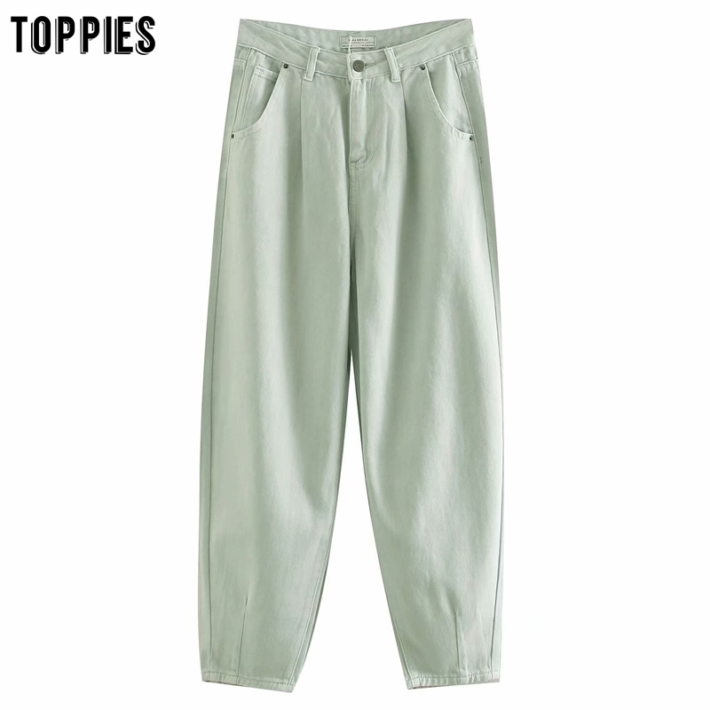 Toppies 2020 Fashion Light Green Denim Pants Womens Harem Pants High Waist Loose Trousers Streetwear