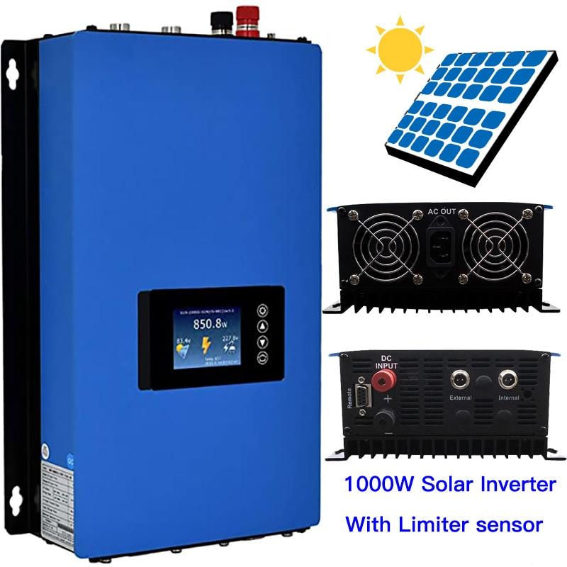 1000W Inversor Solar con limitador de Sensor V 30V 36V MPPT en cuadrícula Inversor invertido de onda sinusoidal pura 300W 350W 400W Panel PV